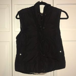 Barely Worn Black Puffy Vest with Faux Fur Lining